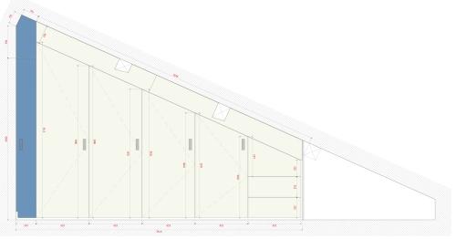 prospetto frontale dell'armadio; l'ultima fascia colorata riprenderà il colore della parete della nicchia in quel punto della stanza